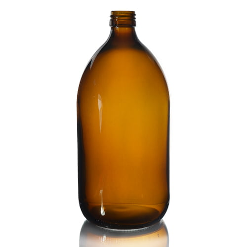 Amber Glass Syrup Bottle 1L