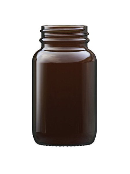 amber glass powder round 100ml