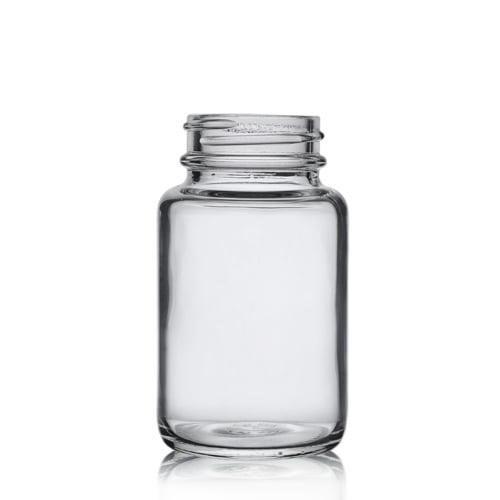 Clear glass powder round 120ml 4oz
