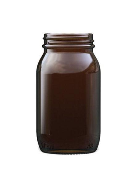 amber glass powder round 200ml