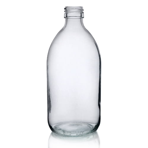 Clear Glass Alpha Syrup Bottle 500ml
